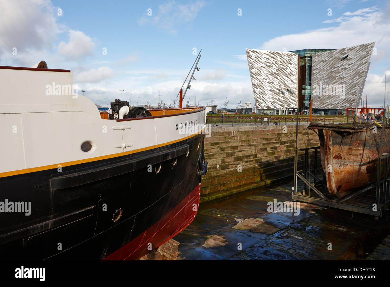 ss nomadic visitor attraction and titanic belfast centre titanic quarter Belfast Northern Ireland - Stock Image