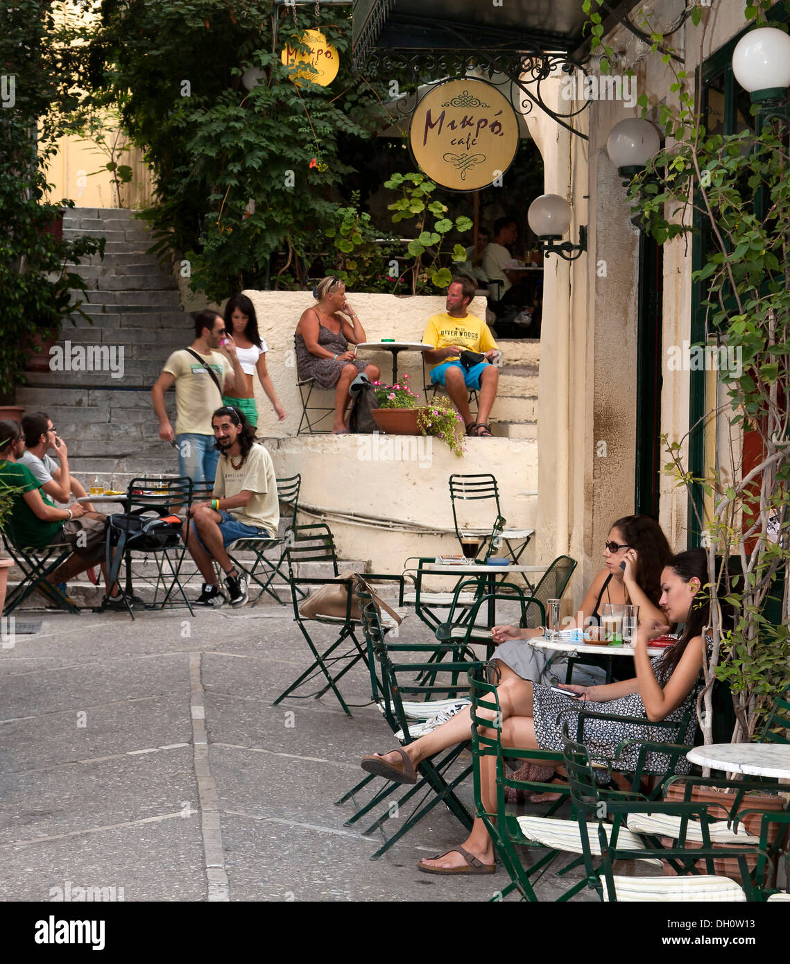 Cafes in the historic town centre of Corfu, also known as Kerkira or Kerkyra, north east Corfu, Corfu Island, Ionian Islands - Stock Image