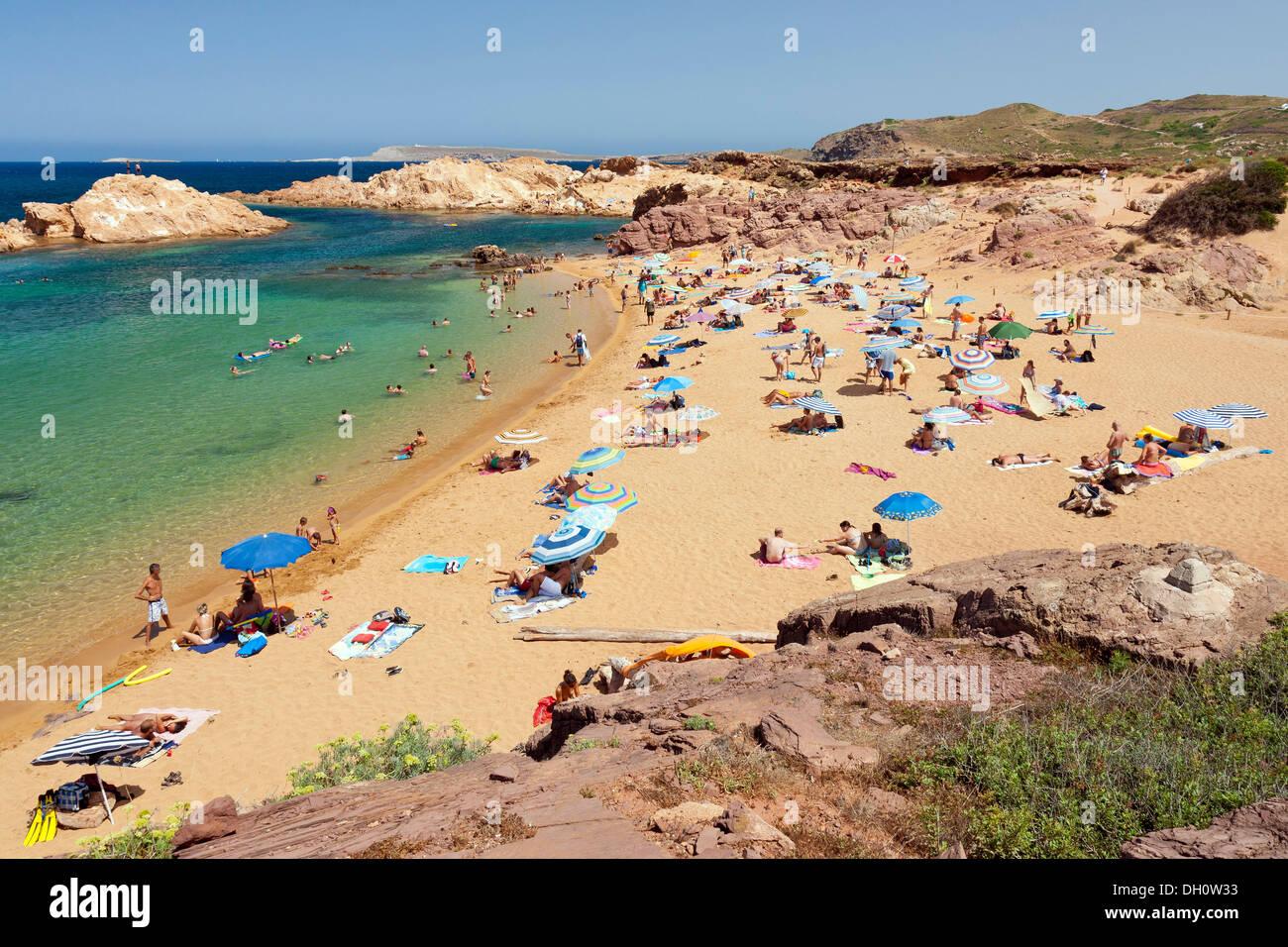 Unspoilt beach, Cala Pregonda bay, northern Menorca, Balearic Islands, Spain, Southern Europe, Europe - Stock Image