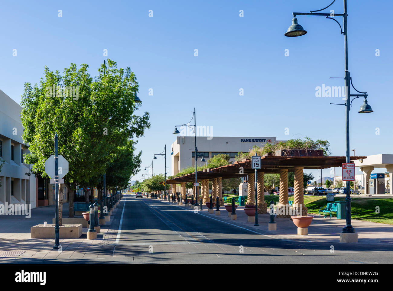 main street in downtown las cruces new mexico usa stock photo