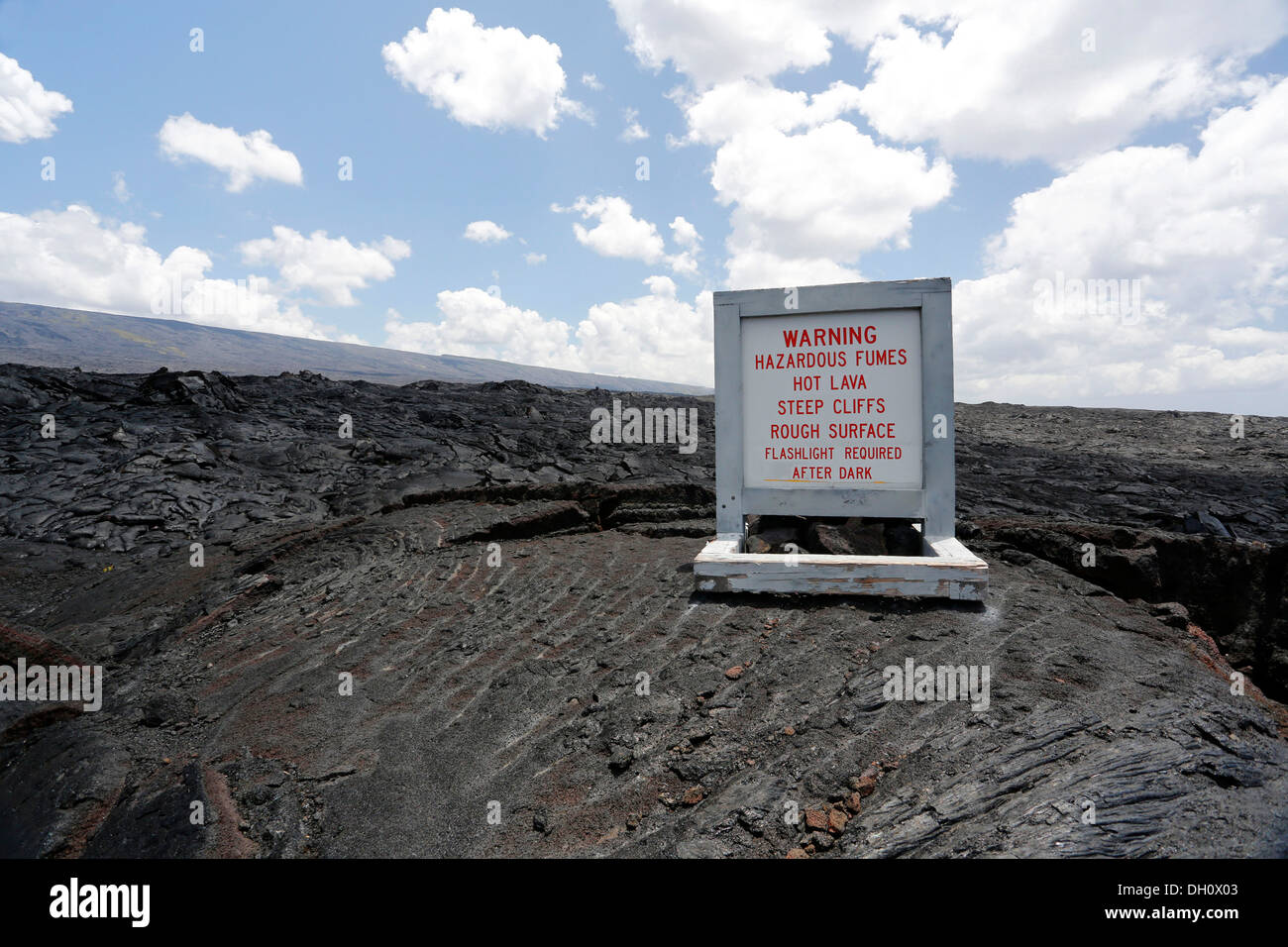 Warning of the dangers on a lava field and of volcanoes, East Rift Zone, Kilauea volcano, Hawaii Volcanoes National Park - Stock Image