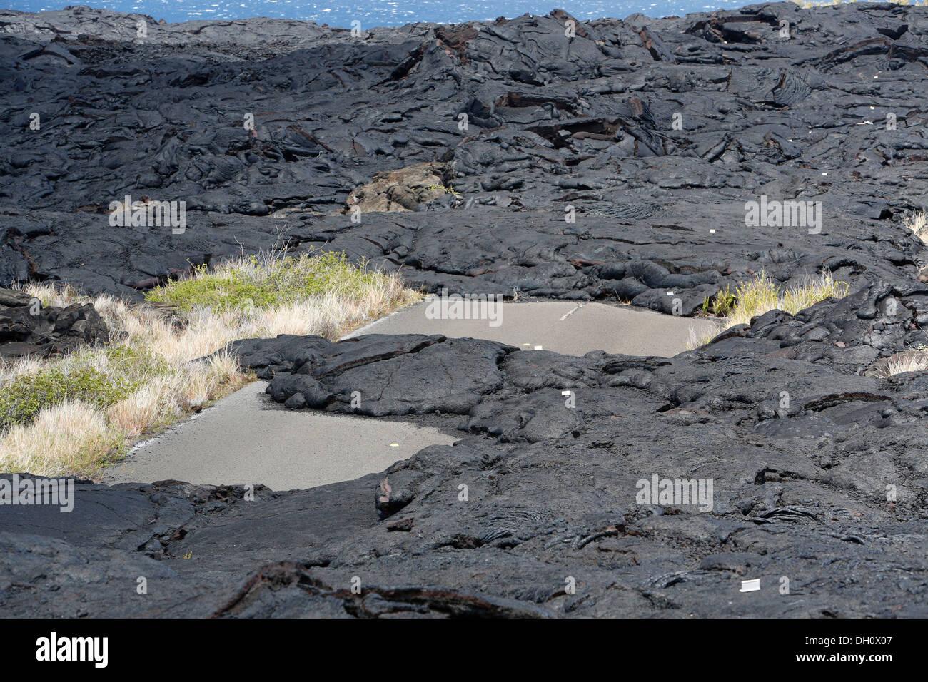 Lava-covered road, East Rift Zone, Kilauea volcano, Hawaii Volcanoes National Park, Big Island, USA - Stock Image
