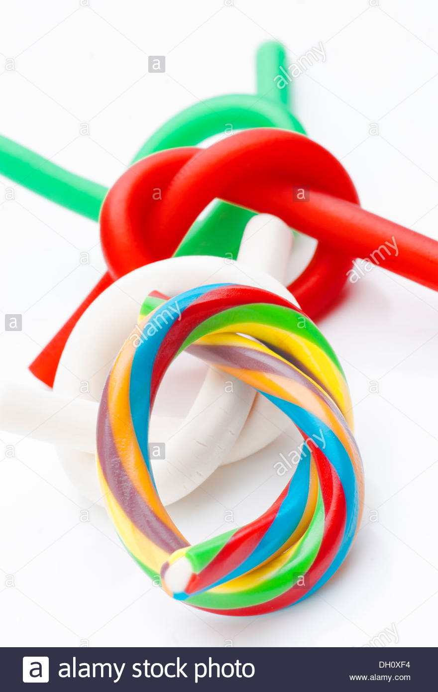 ties rods colored soft licorice Stock Photo