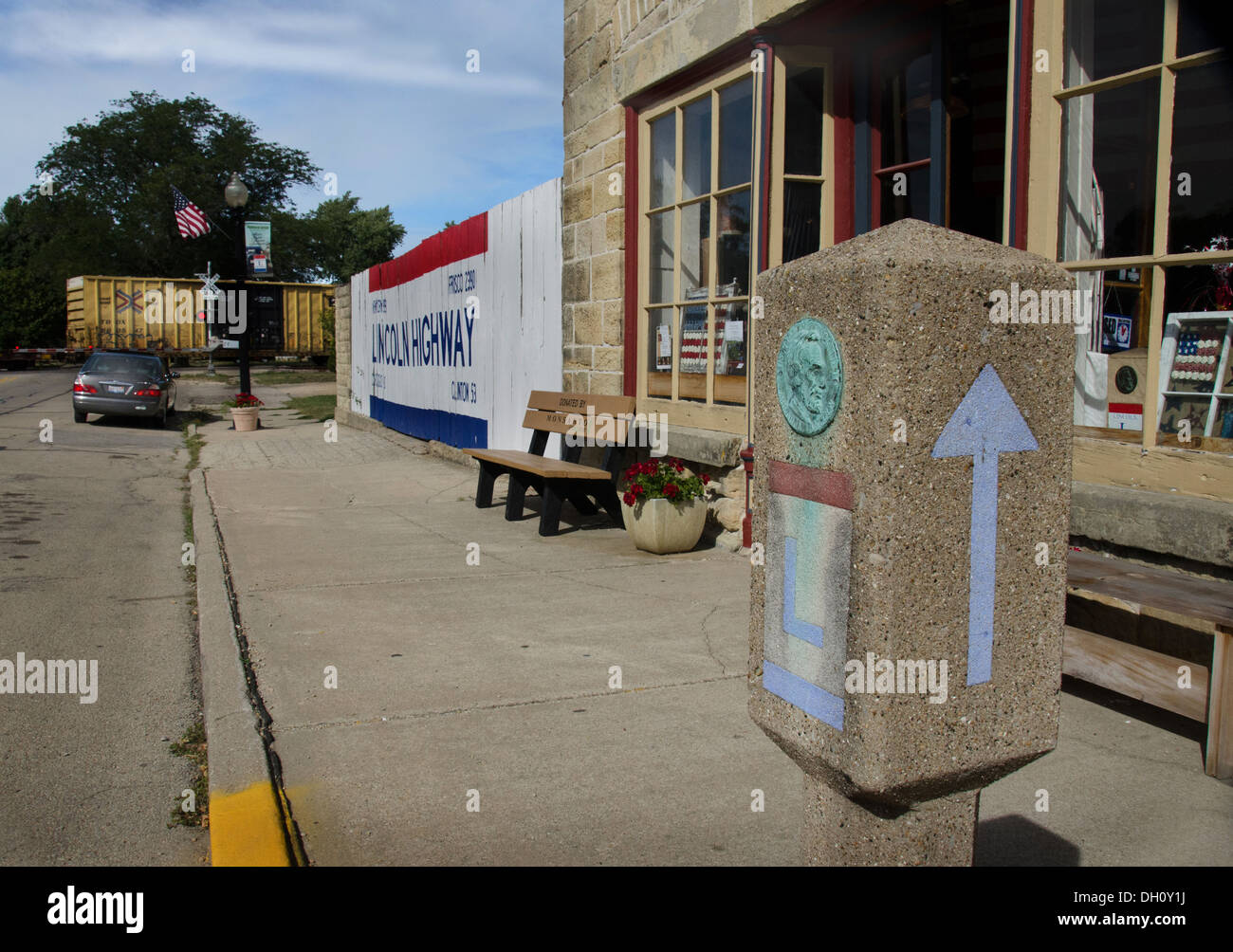 Concrete signposts at Lincoln Highway National Association Headquarters, Franklin Grove Illinois - Stock Image