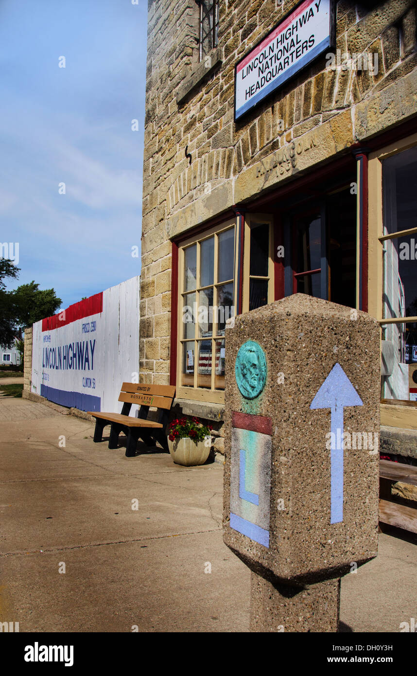 The Lincoln Highway National Association Headquarters in Franklin Grove, Illinois, a town along the Lincoln Highway - Stock Image
