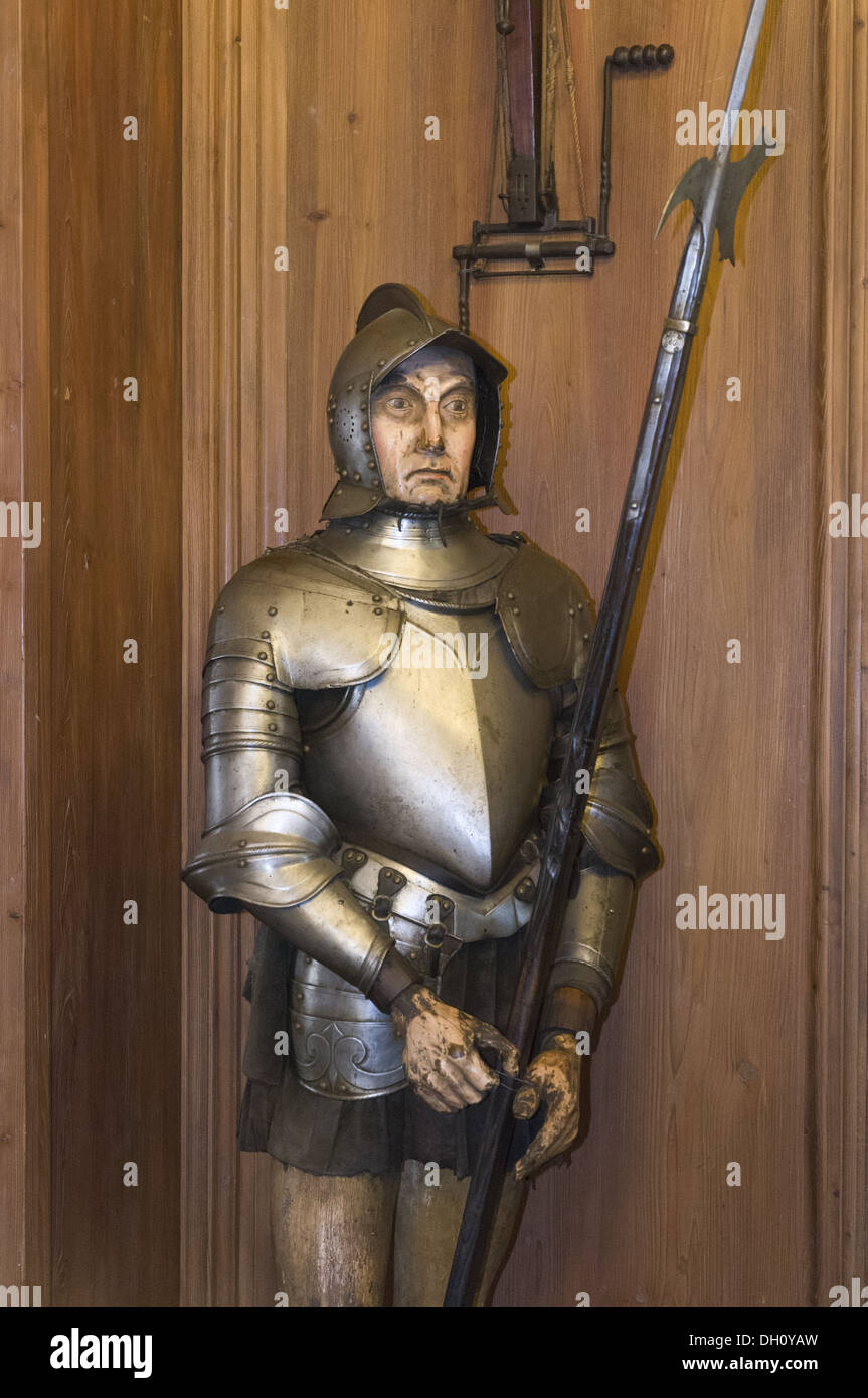 Elk213-1910v France, Alsace, Haut Koenigsbourg Chateau, 15th c, armor - Stock Image