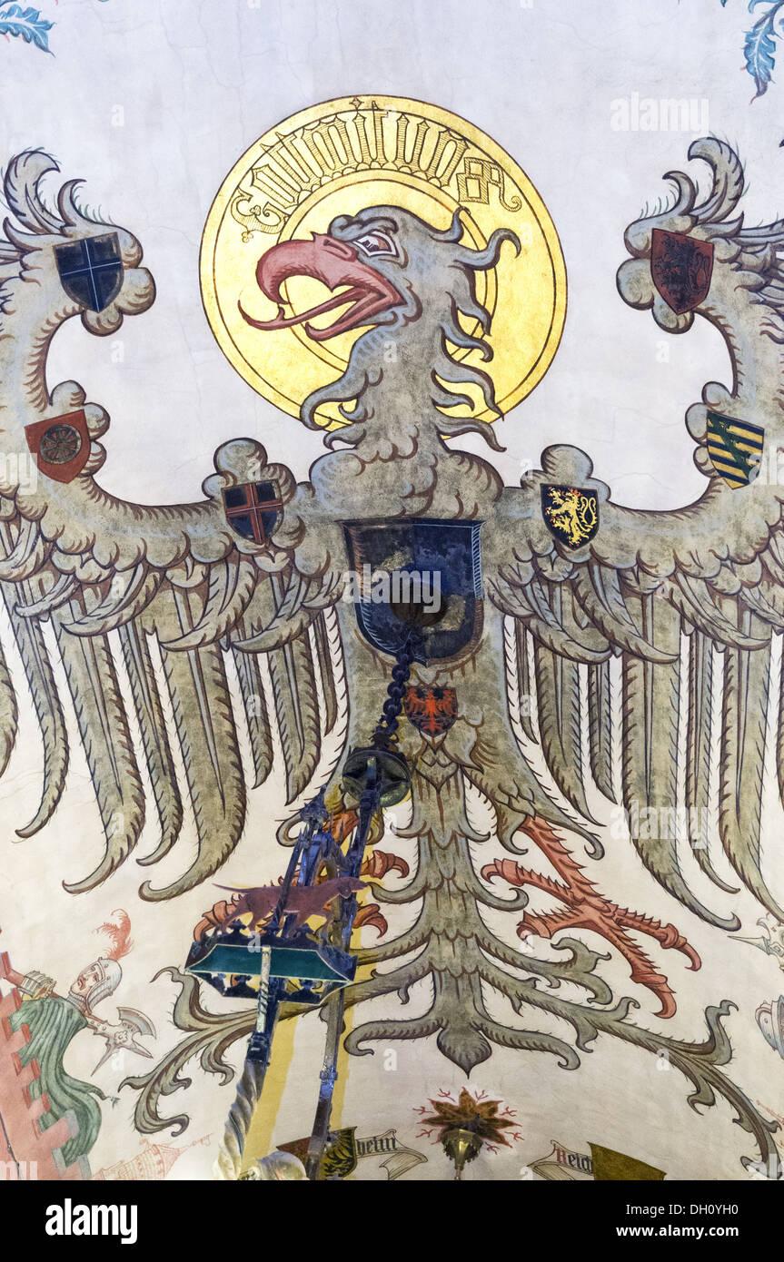 Elk213-1916v France, Alsace, Haut Koenigsbourg Chateau, 15th c, ceiling painting - Stock Image