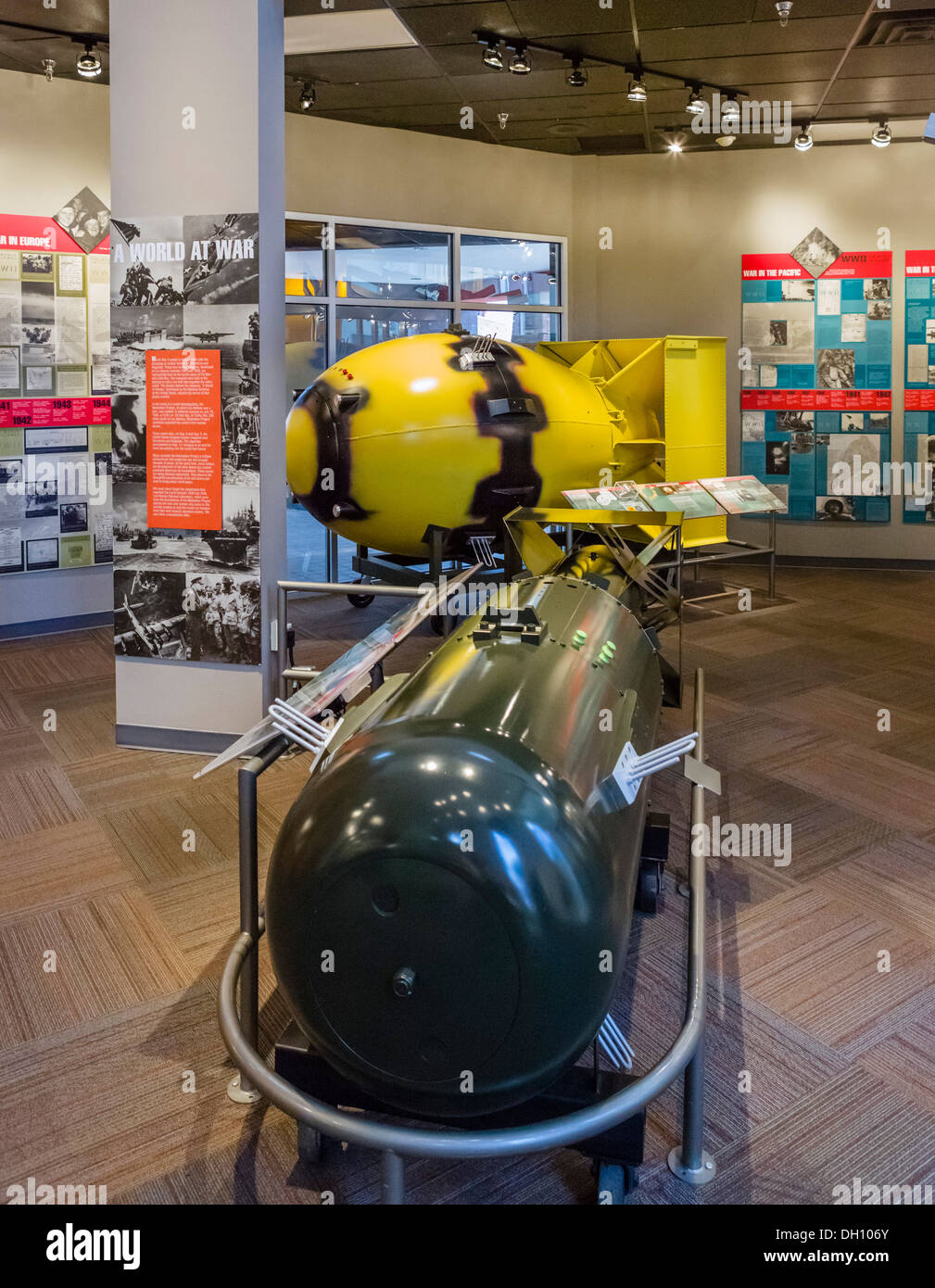 Models of atomic bombs 'Little Boy' and 'Fat Man' dropped on Japan in WWII, Bradbury Science Museum, Los Alamos, New Mexico, USA - Stock Image