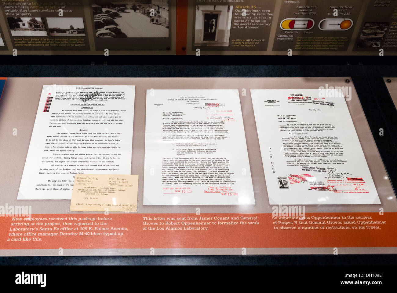 Original Oppenheimer letters connected to the Manhattan Project, Bradbury Science Museum, Los Alamos, New Mexico, USA - Stock Image