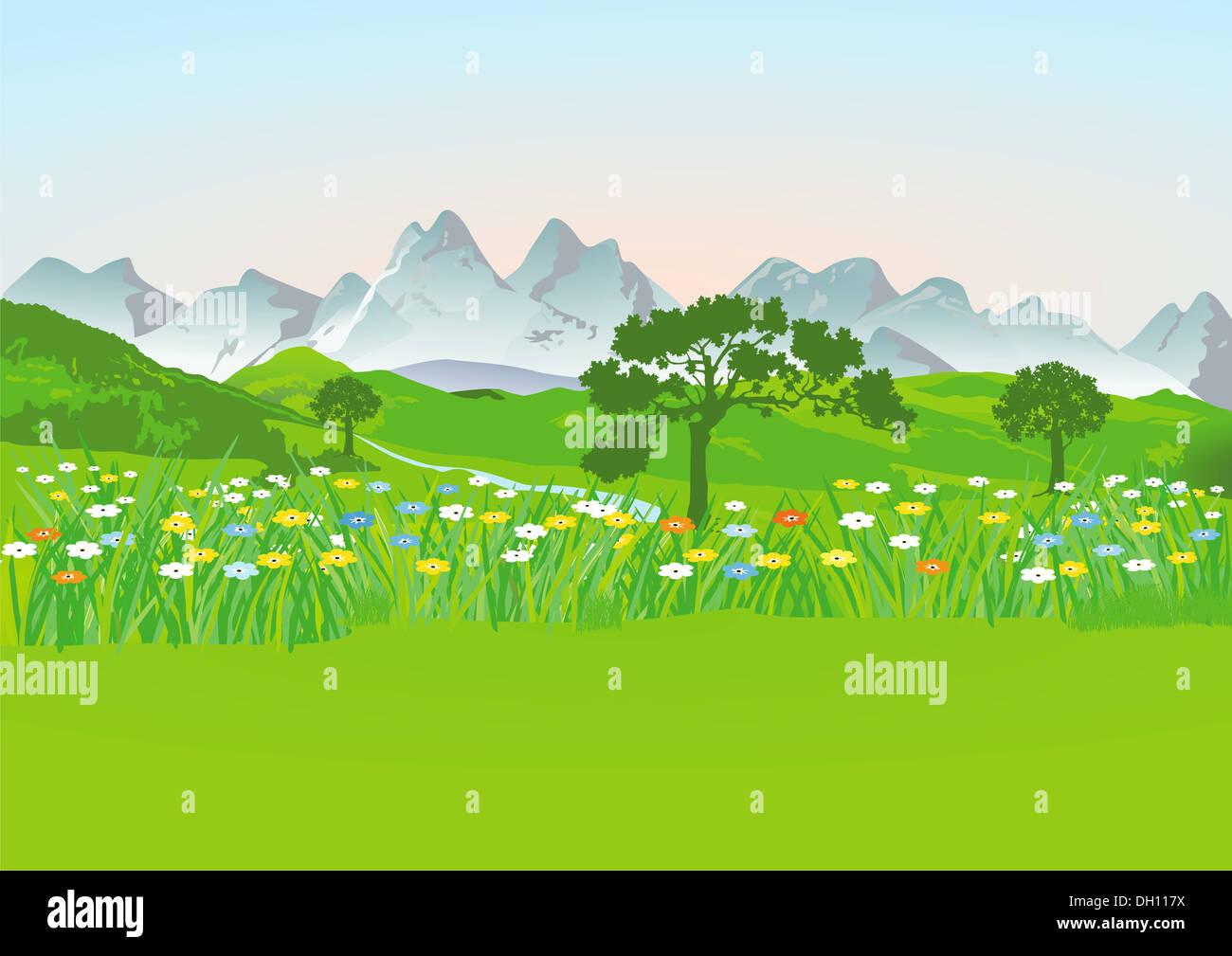 Mountain meadow with mountains Stock Photo