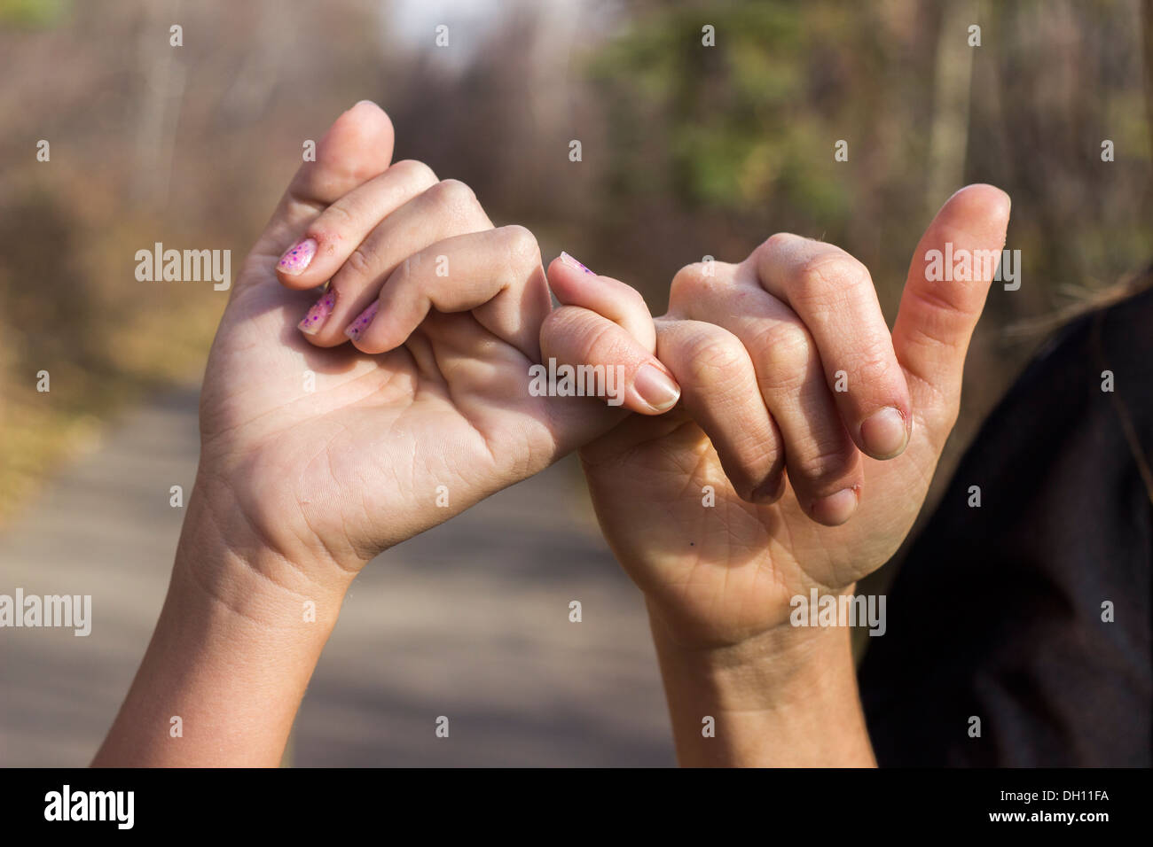 Two best friends share a Pinky Swear - Stock Image