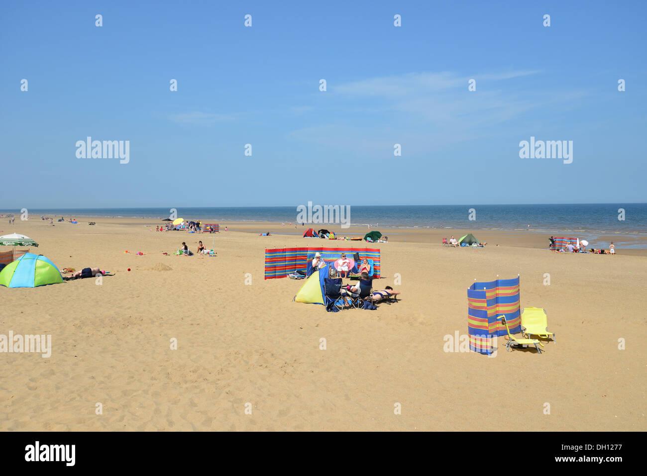 Beach view, Sutton-on-Sea, Lincolnshire, England, United Kingdom - Stock Image