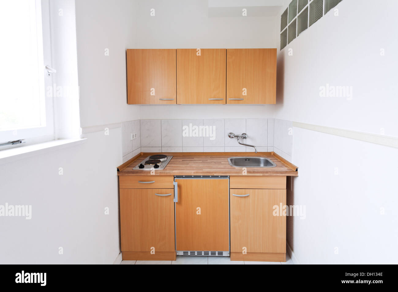 simple kitchen with window and furniture set Stock Photo