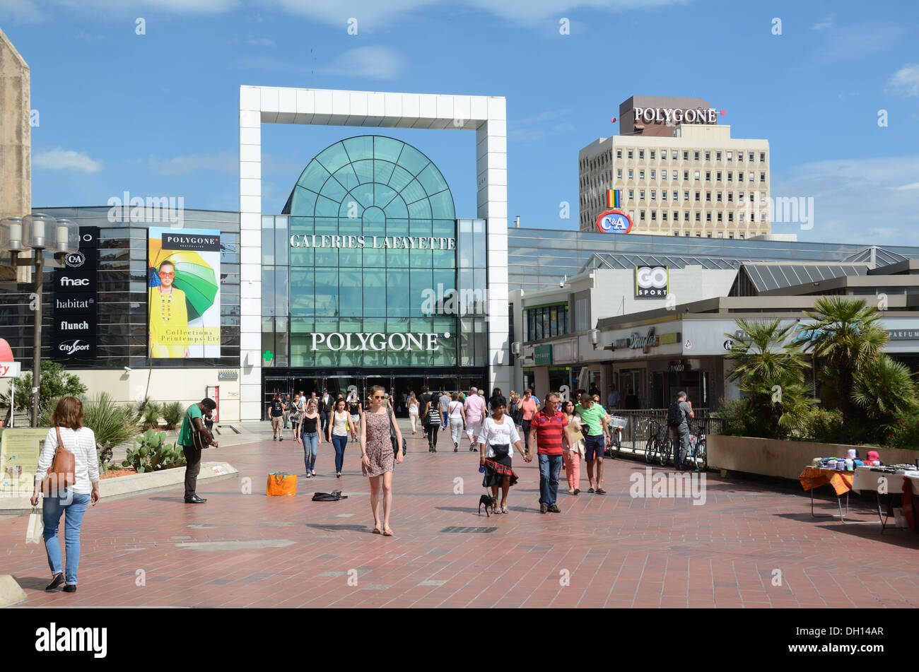 Shoppers Outside Polygone Shopping Center or Shopping Mall Montpellier France - Stock Image
