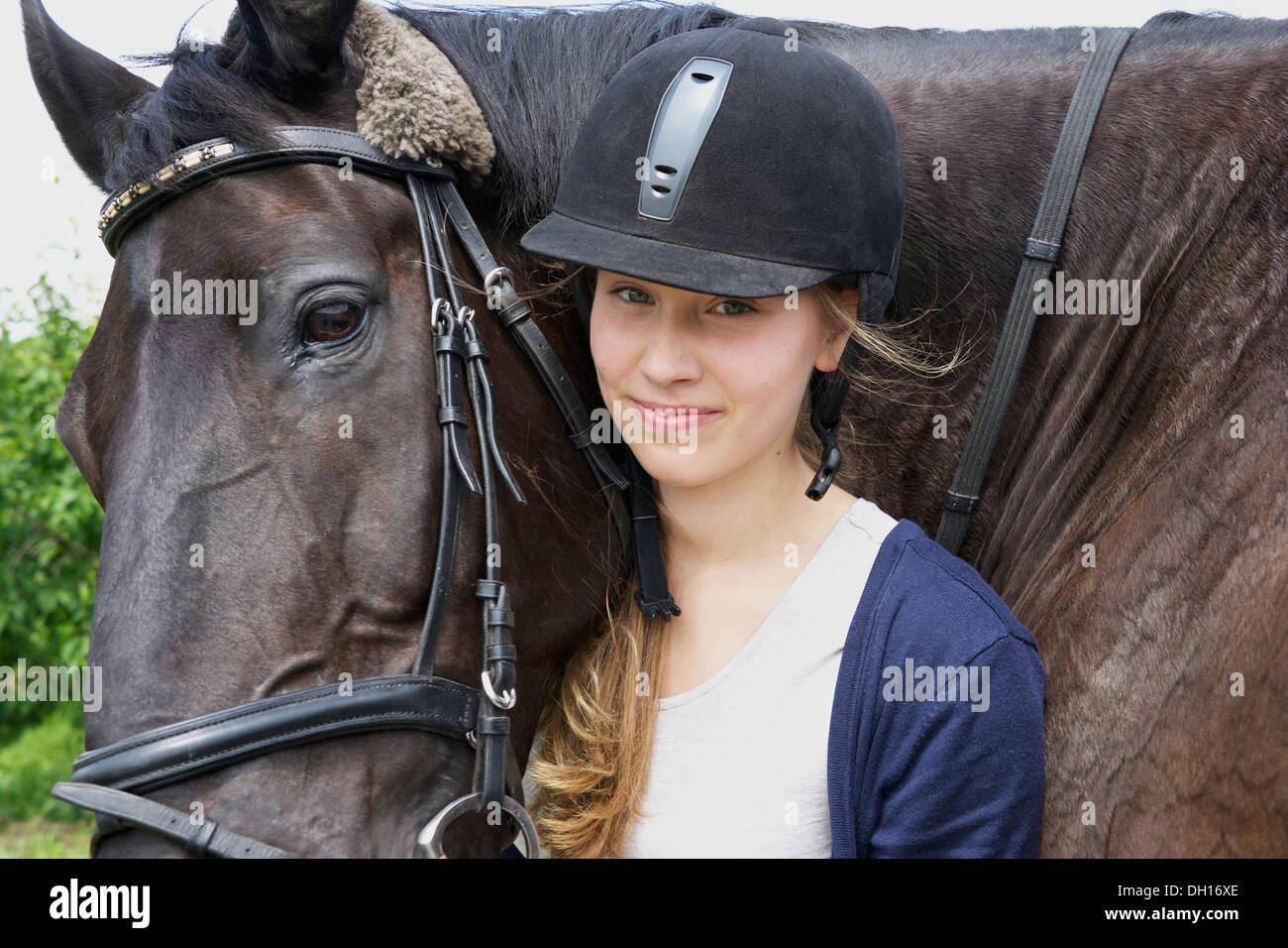 Woman With Horse, Portrait, Baden Wuerttemberg, Germany, Europe - Stock Image