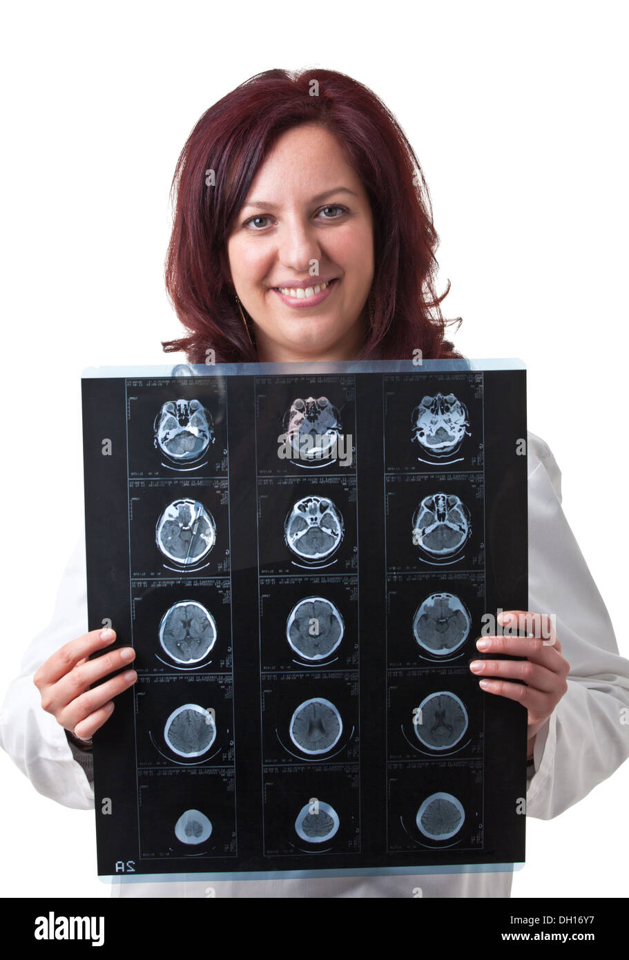 portrait of woman doctor with xray - Stock Image