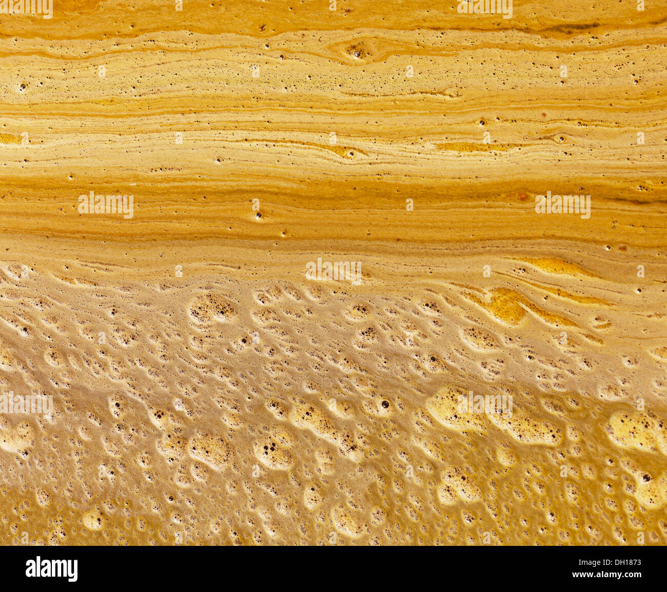 The yellow scum on the surface of dirty water - background - Stock Image
