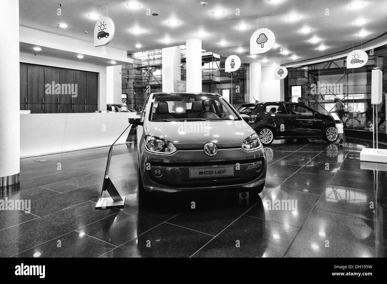 Car dealer selling Volkswagen. Black and white. Stock Photo