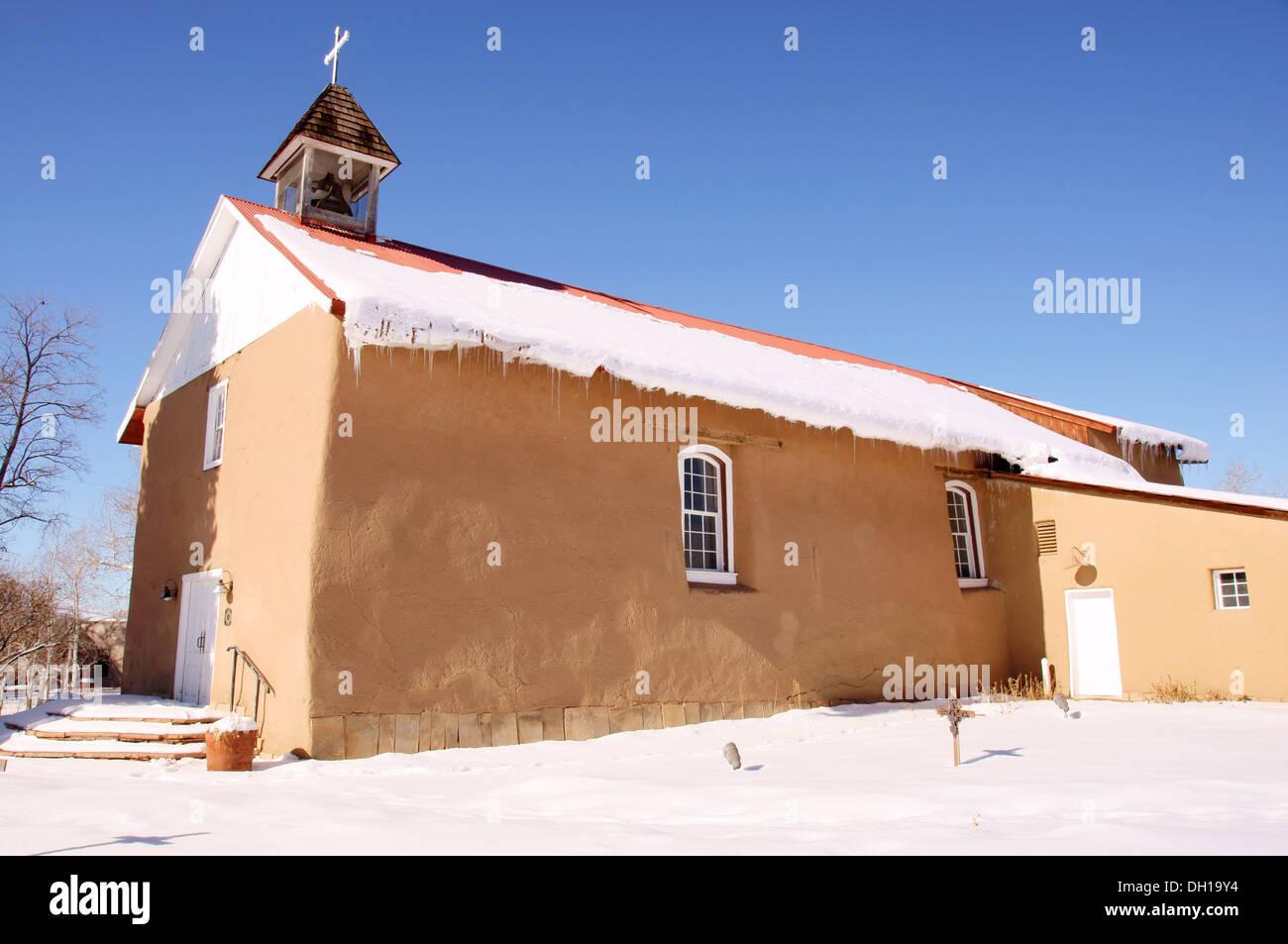 La Santisima Trinidad Parish Arroyo Seco NM Holy Trinity catholic church at arroyo seco new mexico nm winter - Stock Image