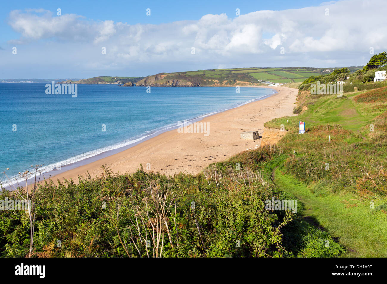 Coast Path Praa Sands Cornwall England between Penzance and Mullion with sandy beach and blue sky and sea - Stock Image