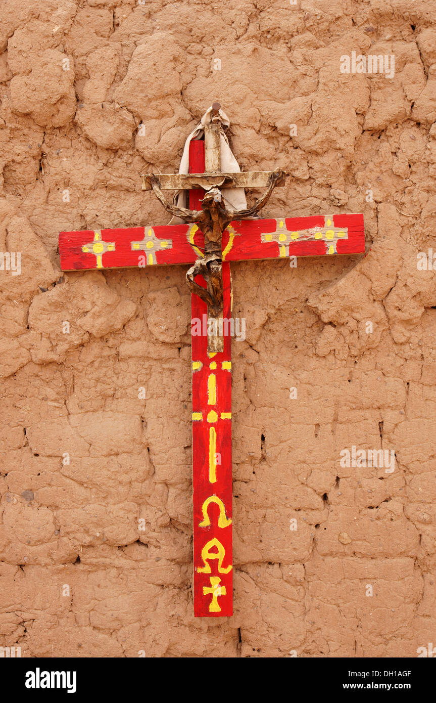cross wooden abiquiu new mexico nm abiqui religion religious belief divinity canonical churchly clerical - Stock Image