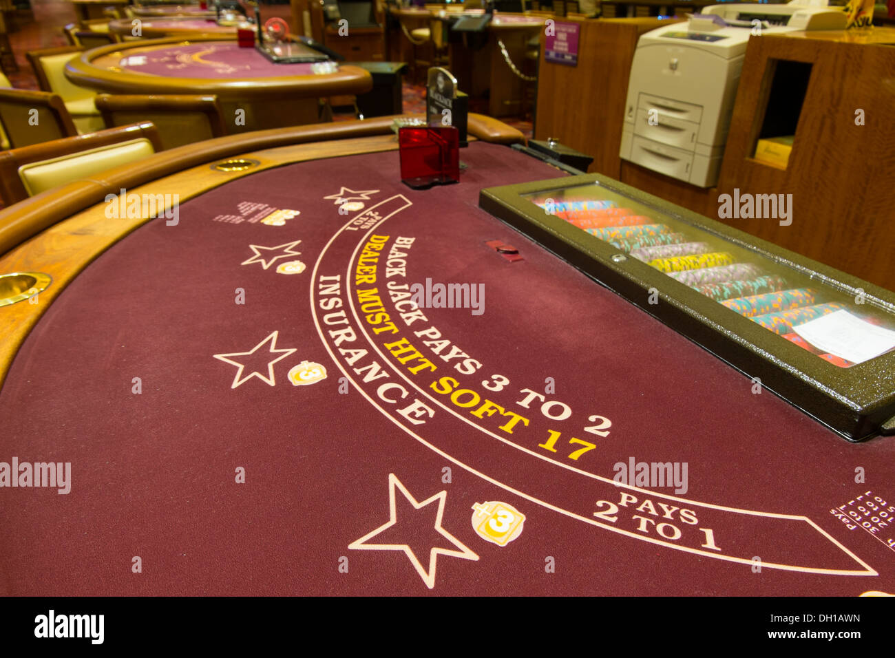 Blackjack Gambling Table - Casino Interior, no people. - Stock Image