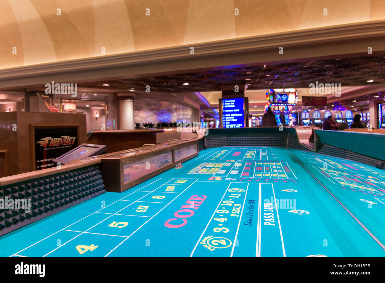 Craps Table - Casino Interior, Harrah's Hotel and Casino, Las Vegas, Nevada, USA - Stock Image