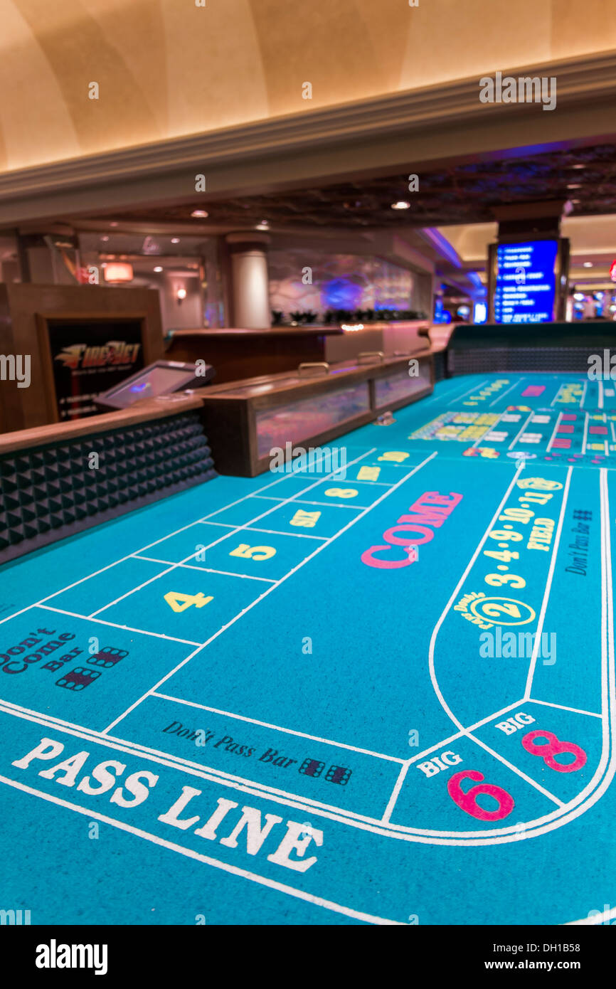 Craps Table - Casino Interior, Harrah's Hotel and Casino, Las Vegas, Nevada, USA. Without dices. - Stock Image