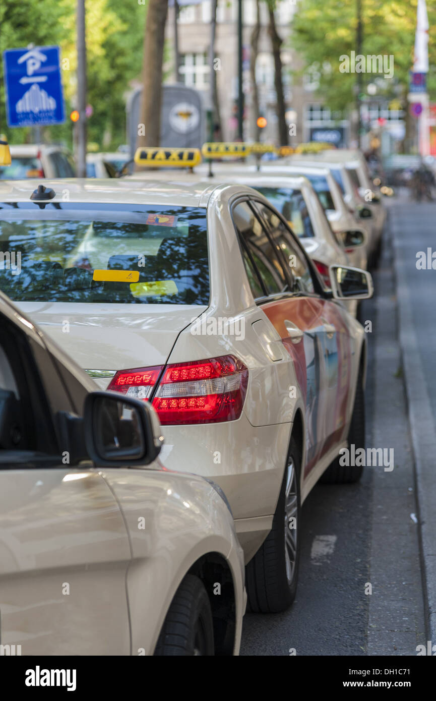 Taxis are one behind the other - Stock Image