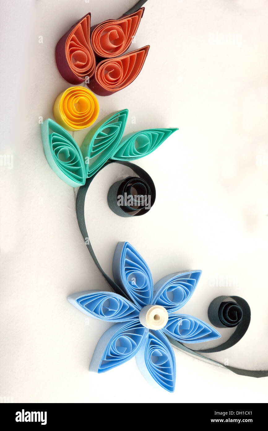 Flowers Handicraft Paper Quilling Designs Stock Photo 62112345 Alamy