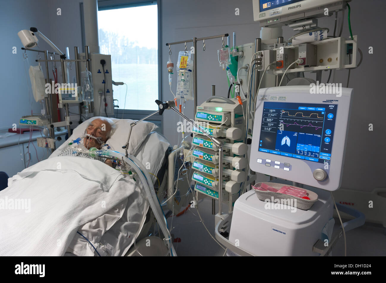 Intensive care of an elderly patient on a life support machine pulling through after major extensive operation Stock Photo