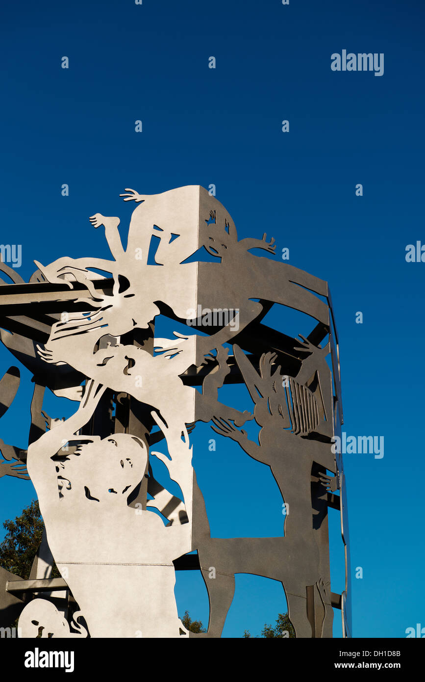 Public art sculpture by Michael Snape called Continuum in the Melbourne Docklands area. - Stock Image