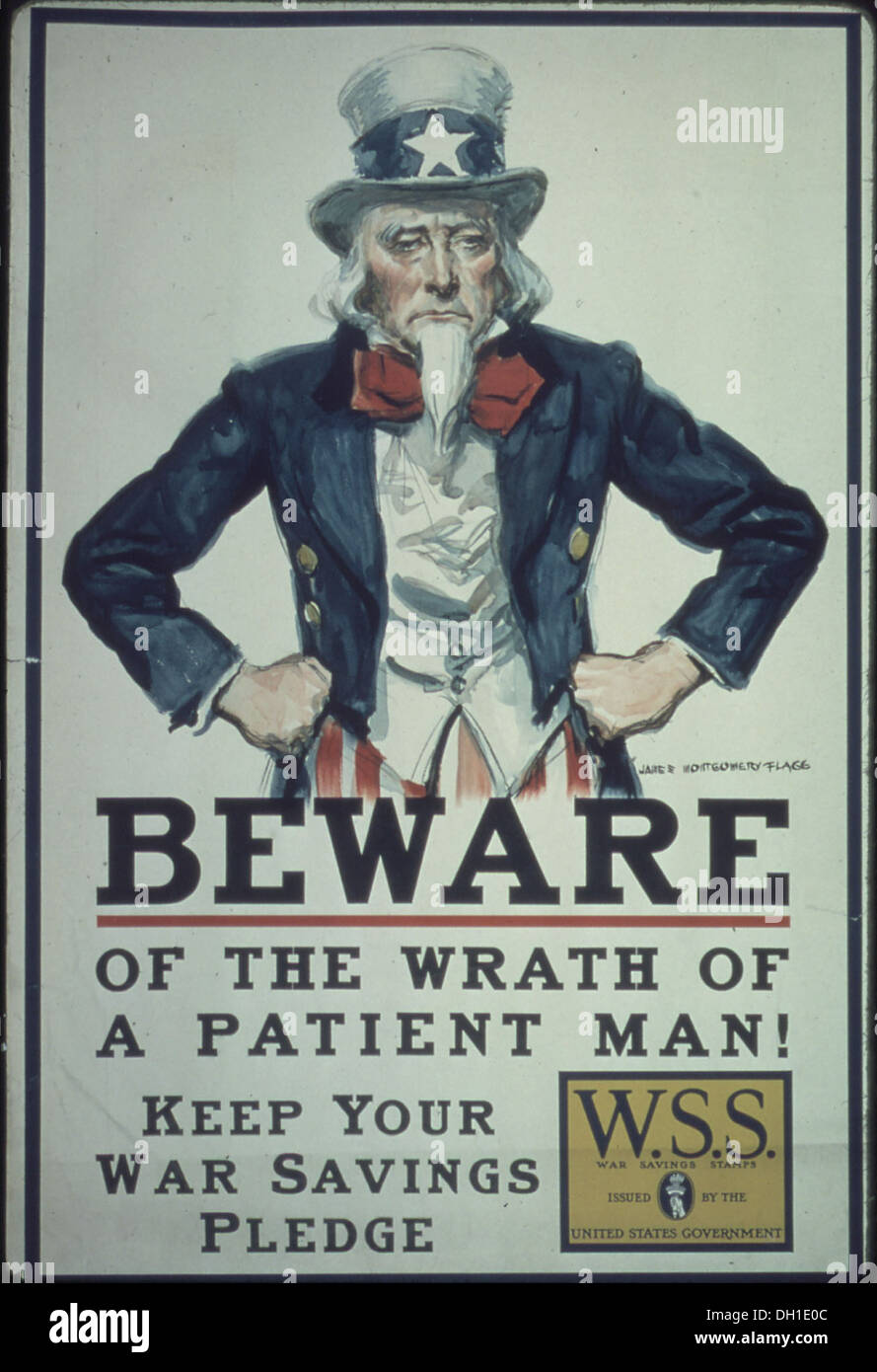 Beware of the wrath of a patient man5E Keep your War Saving Pledge. W.S.S. War Saving Stamps issued by the United... 512649 - Stock Image
