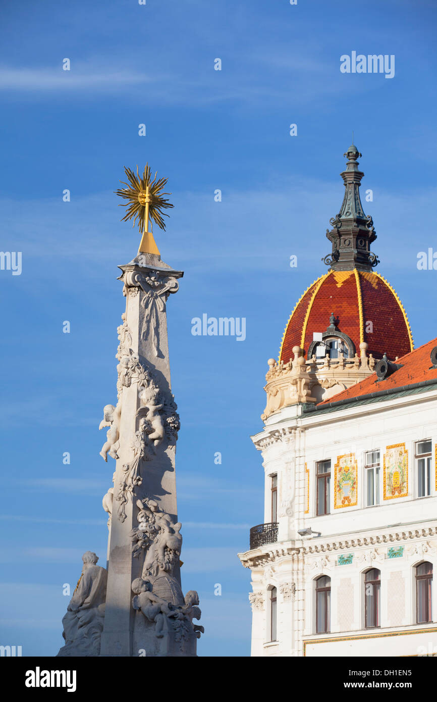 County Hall and Trinity Column in Szechenyi Square, Pecs, Southern Transdanubia, Hungary - Stock Image