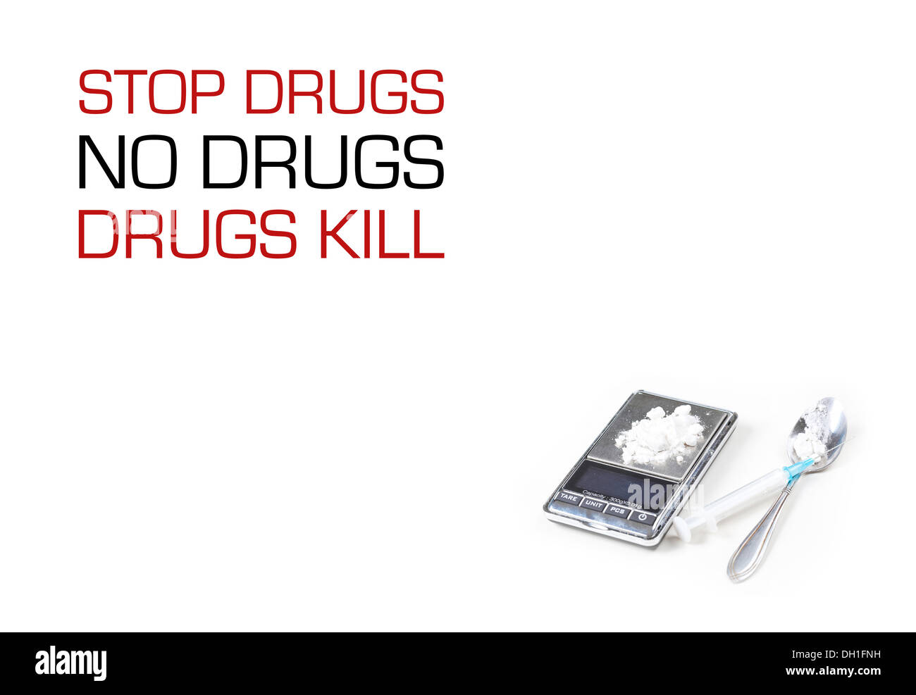 Syringe and digital scales with drugs closeup on white  - Stock Image