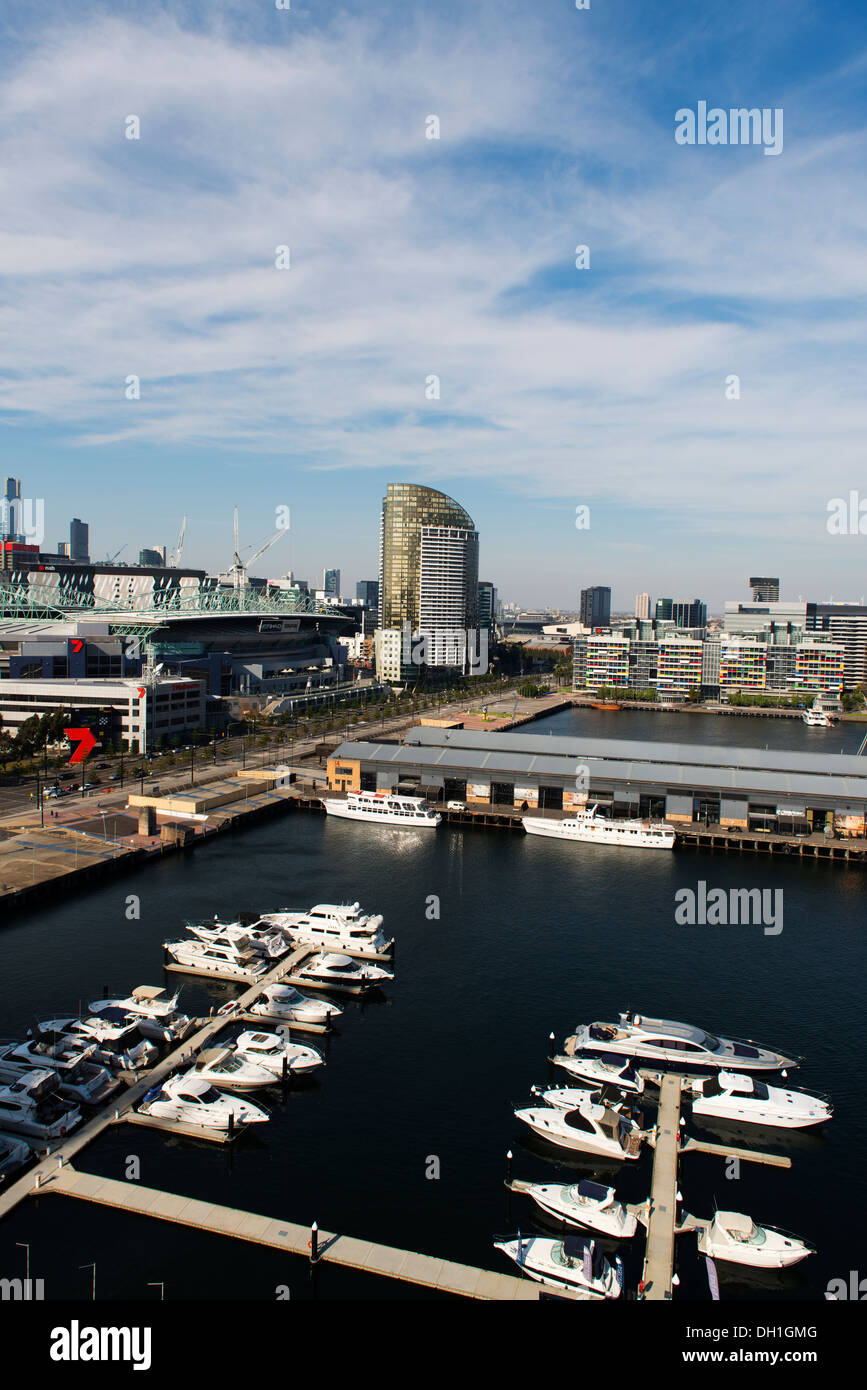View over Melbourne's Docklands precinct. - Stock Image