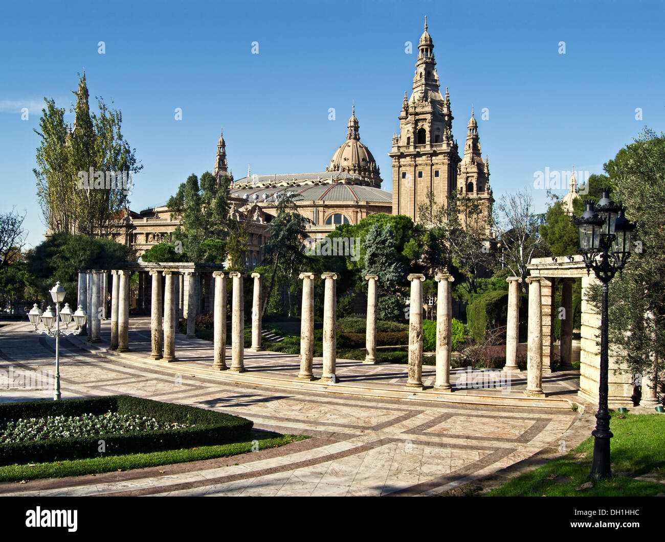 Joan Maragall garden and MNAC - Stock Image