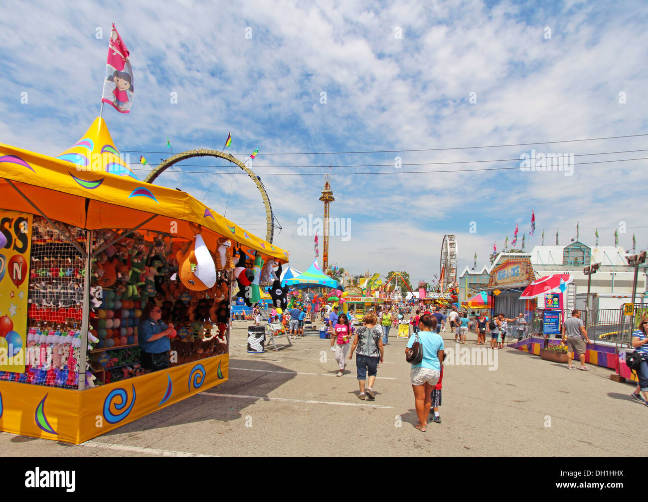 Vendors, tourists and rides on the Midway at the Indiana