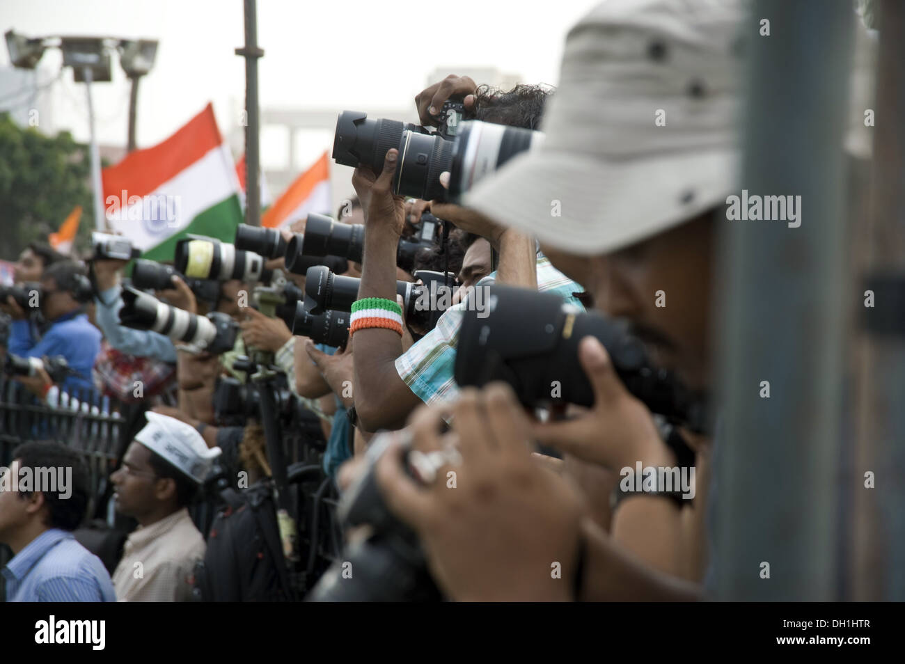 News press photographers in ramlila maidan new delhi India Asia - Stock Image