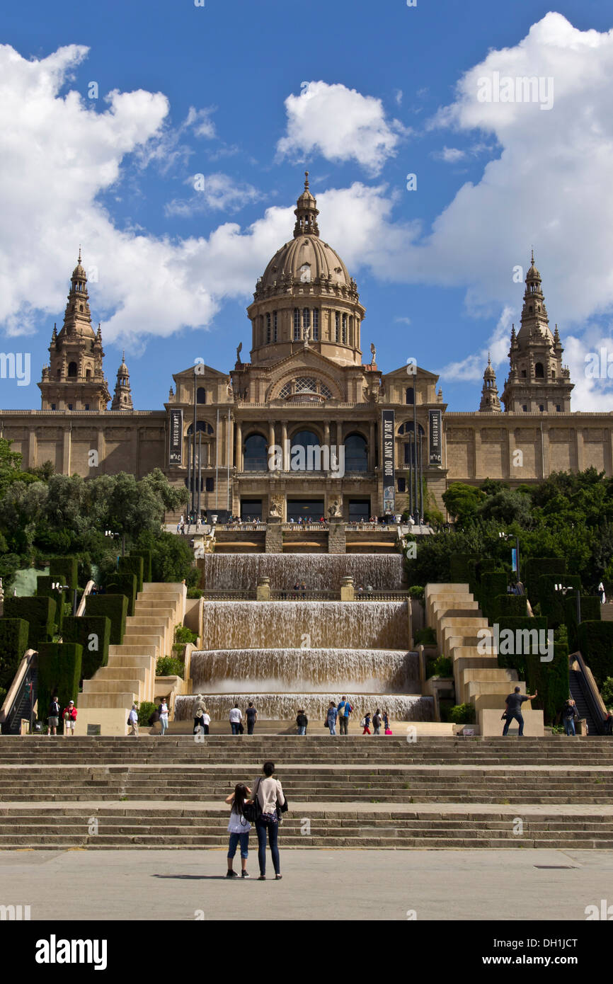 View of MNAC in Montjuic (Barcelona) - Stock Image