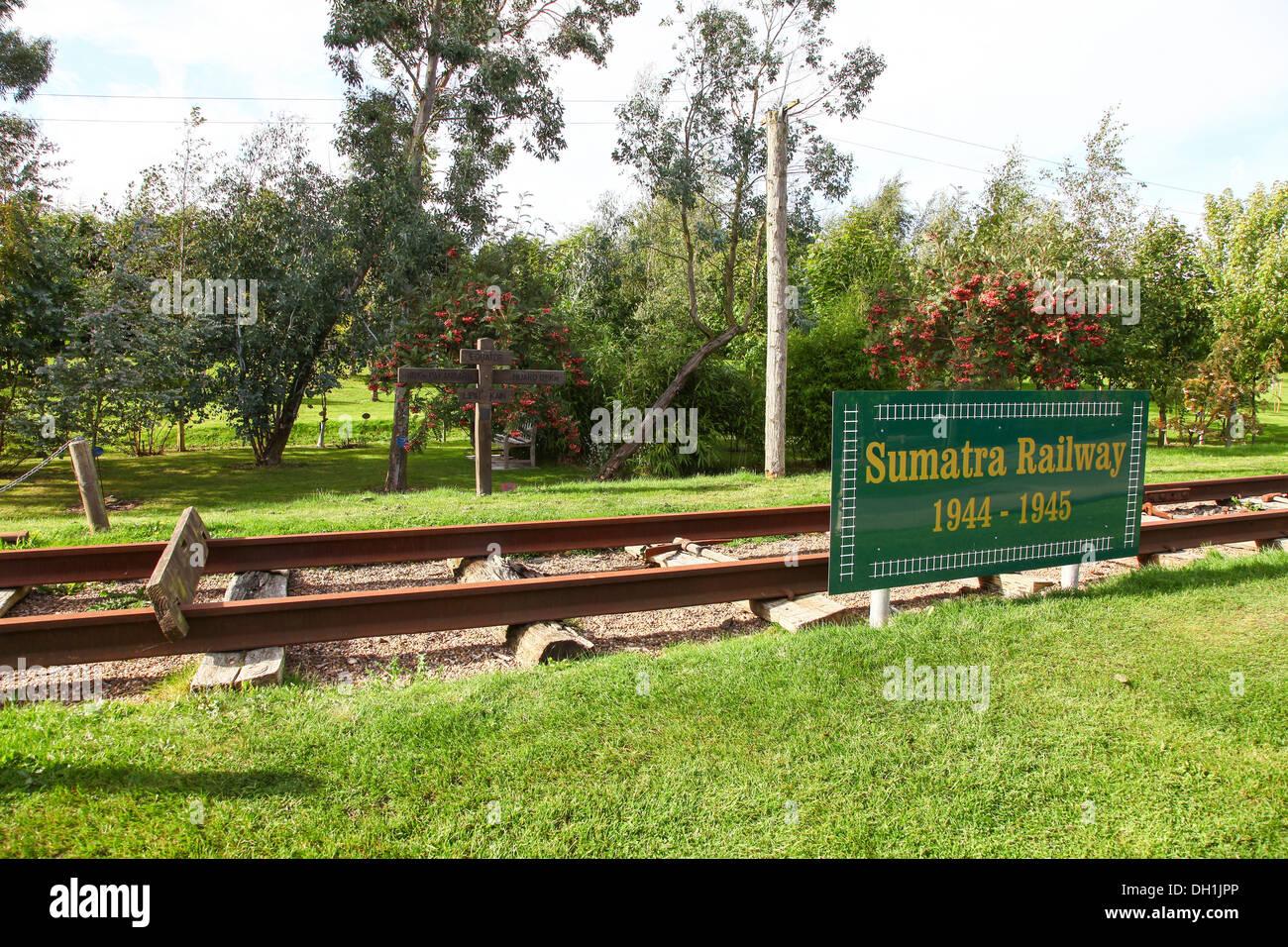 The Sumatra Railway memorial at The National Memorial Arboretum Alrewas, near Lichfield, Staffordshire, England, UK - Stock Image
