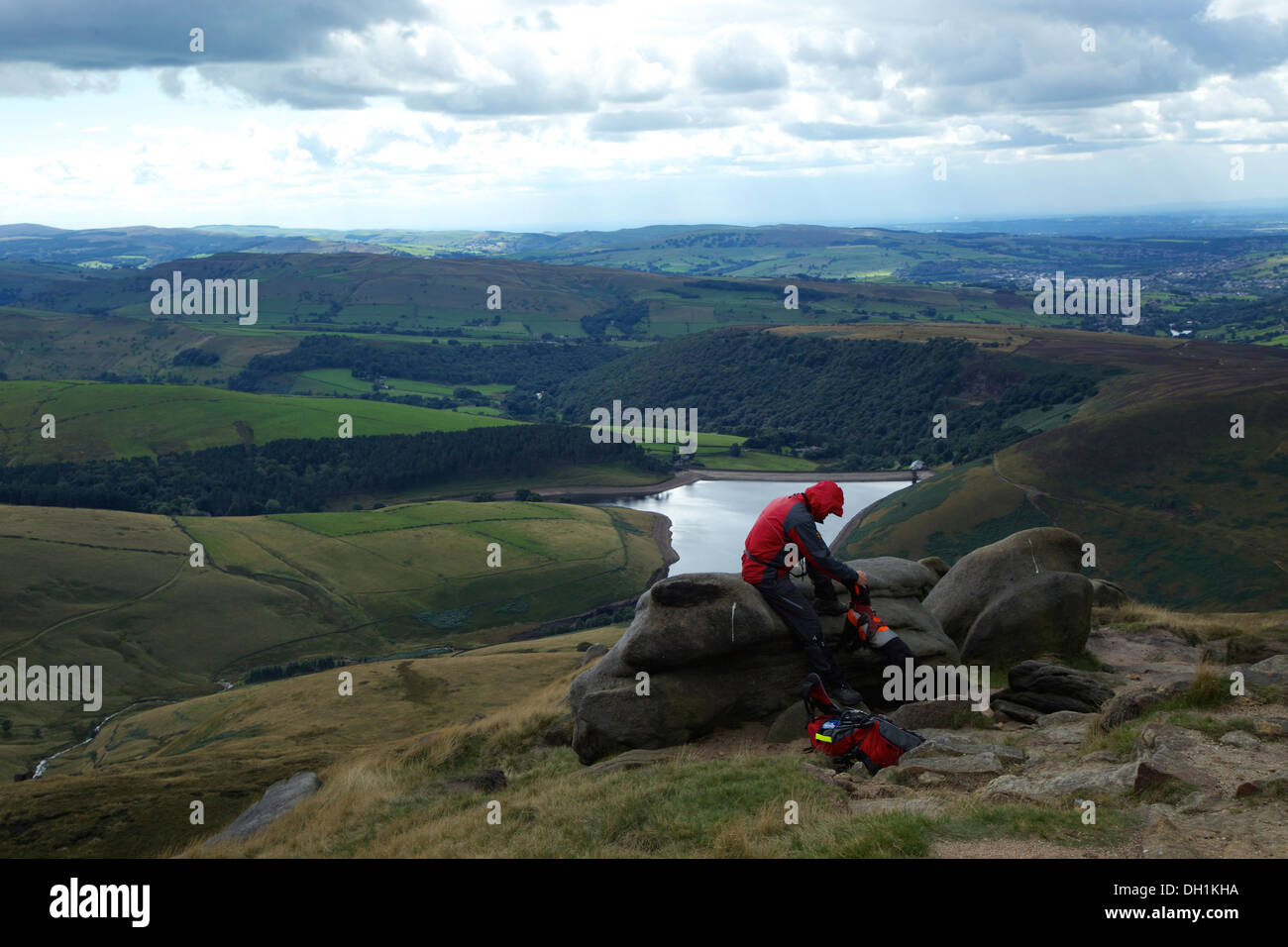 Landscape view from the top Kinder Scout in the Peak District - Stock Image