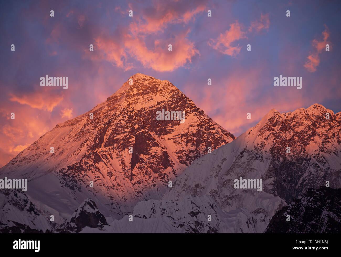 Mount Everest (8848 m) at sunset. Nepal, Himalayas. - Stock Image