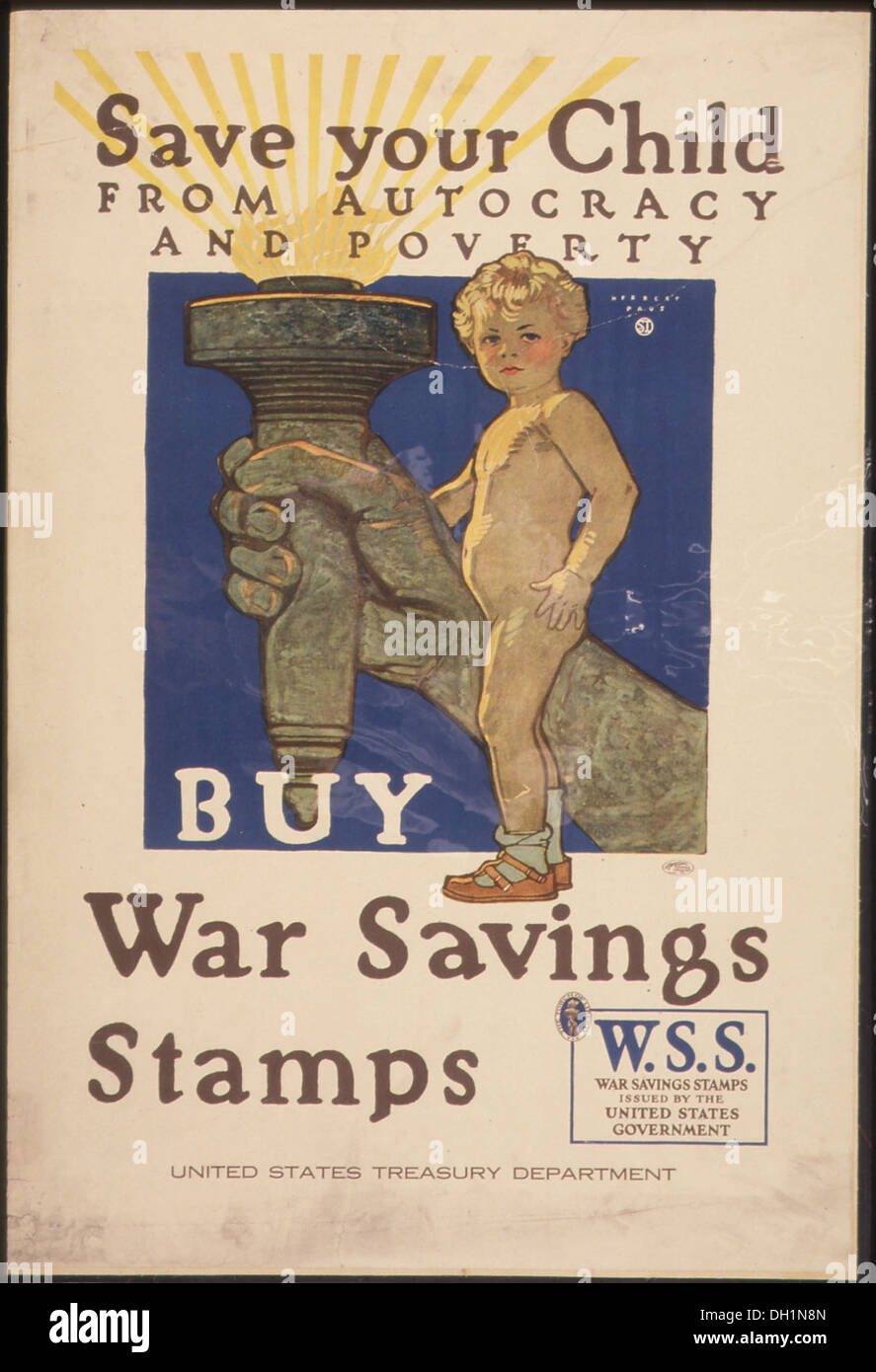 Save Your Child from autocracy and poverty. Buy War Saving Stamps. W.S.S. War Saving Stamps issued by the United... 512628 - Stock Image