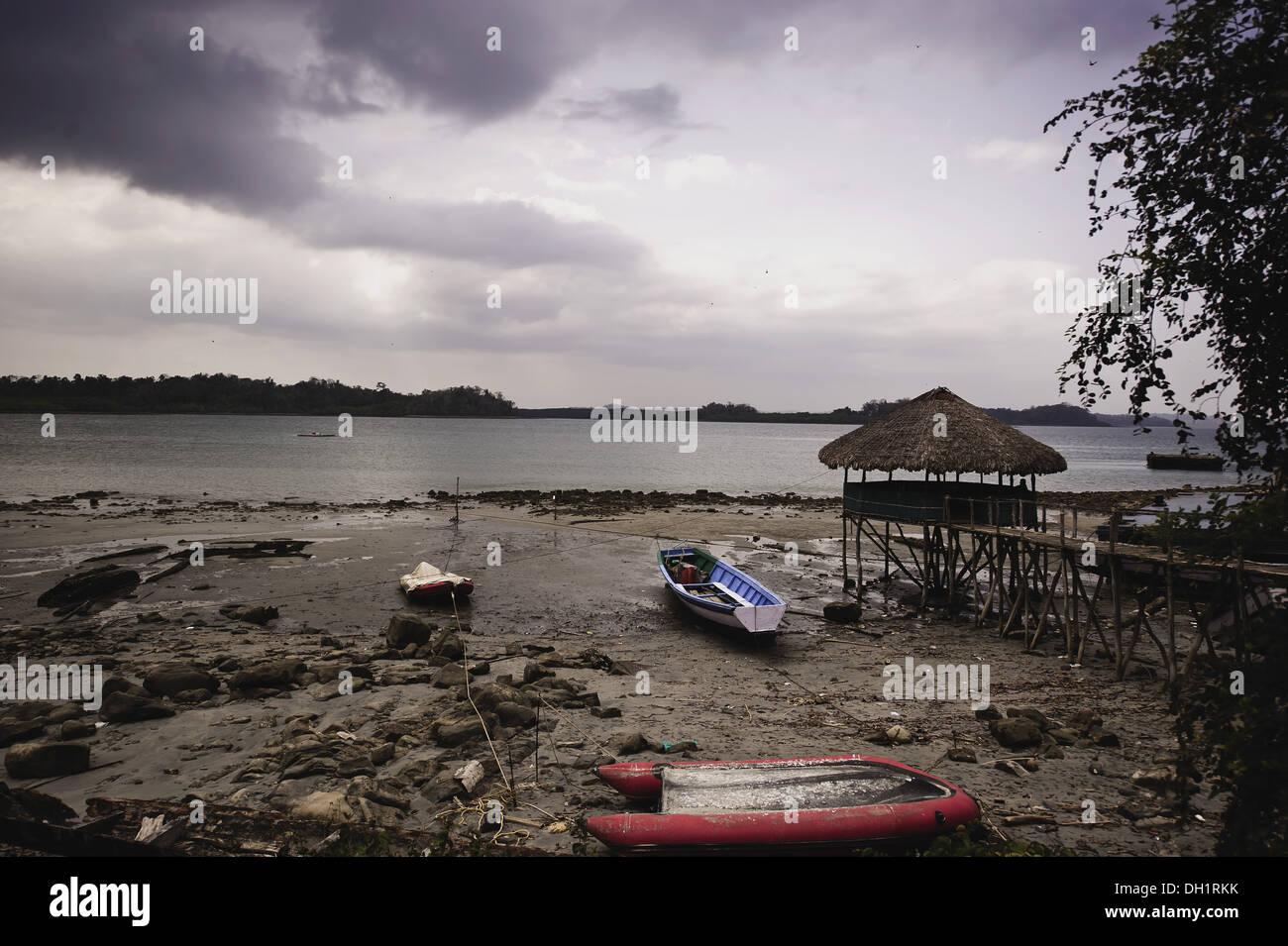 empty vacant deserted beach Andaman and Nicobar Island India Asia - Stock Image