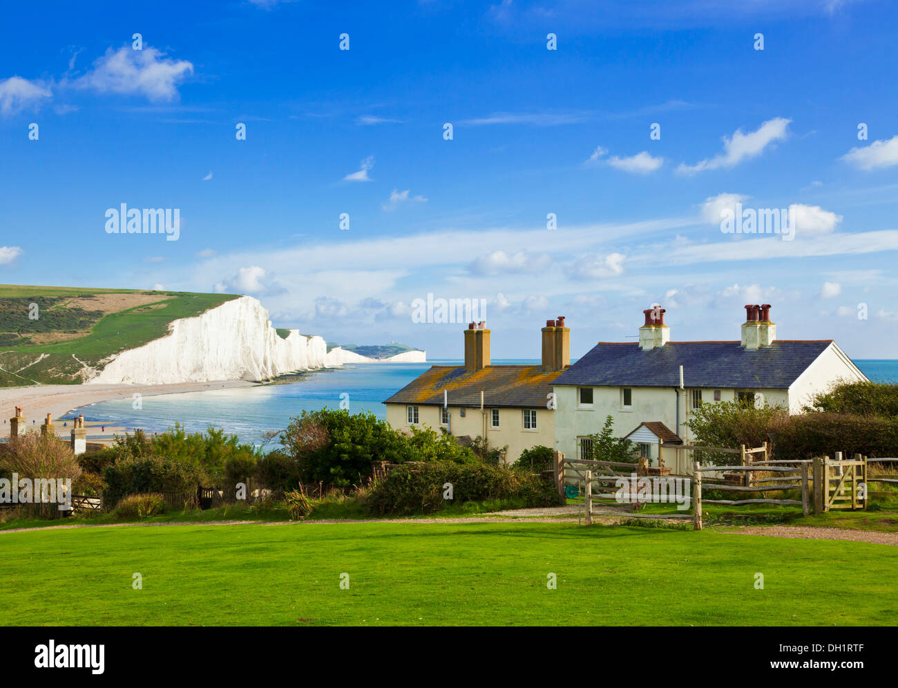 The Seven Sisters cliffs, the coastguard cottages South Downs Way, South Downs National Park, East Sussex, England, UK, GB, EU - Stock Image