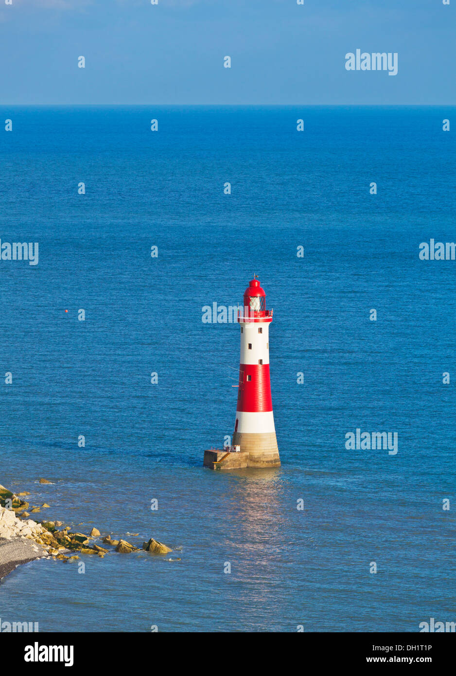 Beachy Head lighthouse beneath Seven Sisters chalk cliffs South Downs national park east sussex england uk gb eu europe - Stock Image