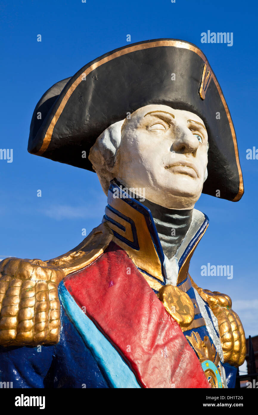 Figurehead bust of Admiral Lord Horatio Nelson in the Historic Dockyard Portsmouth Hampshire England UK GB EU Europe - Stock Image