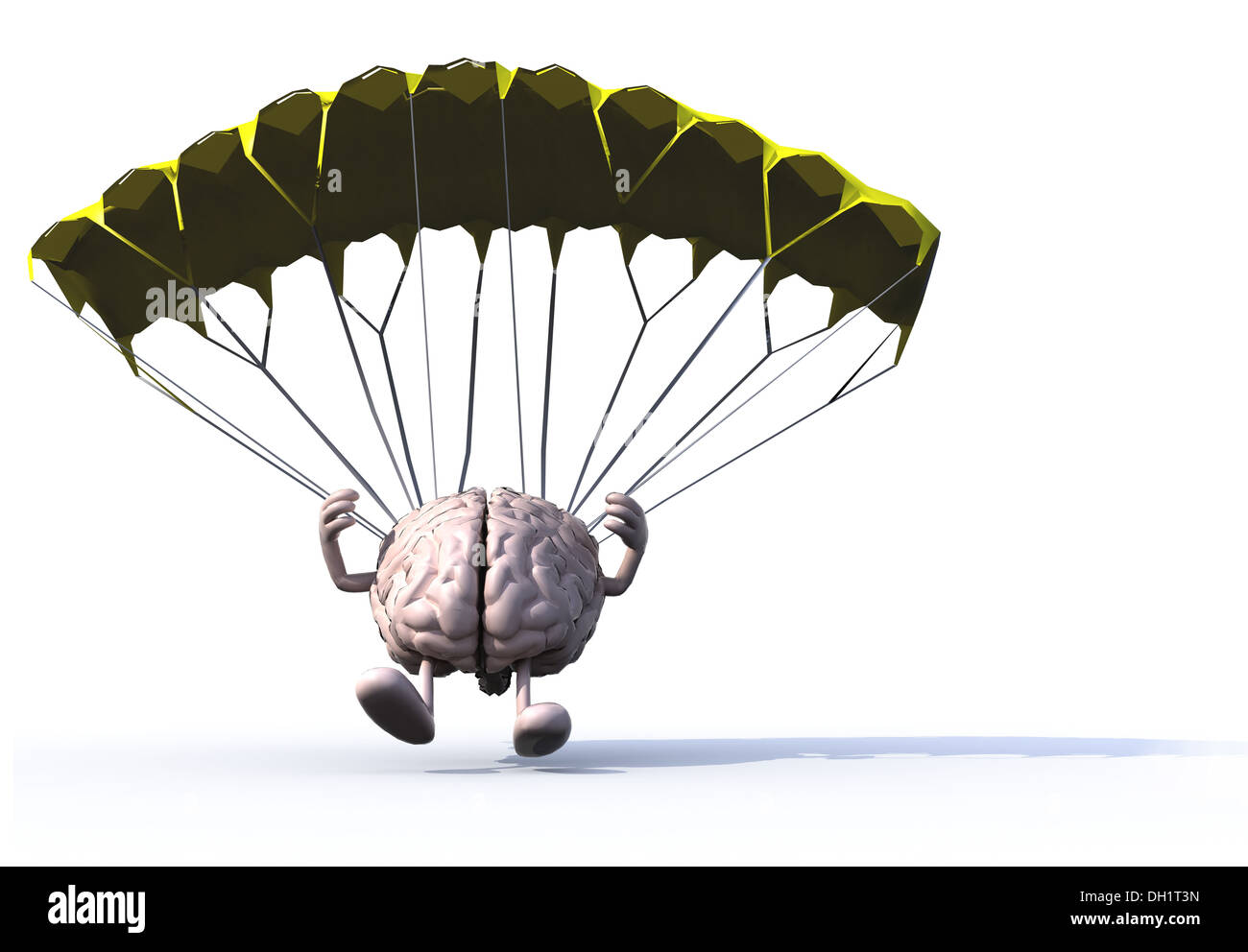 human brain that is landing with parachute, 3d illustration
