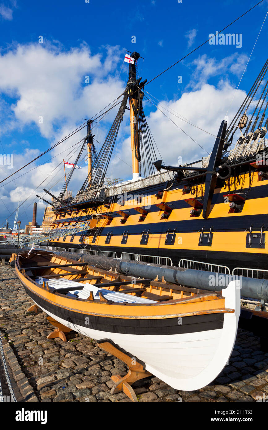 HMS Victory in the Portsmouth Historic Dockyard Portsmouth Hampshire England UK GB EU Europe Stock Photo